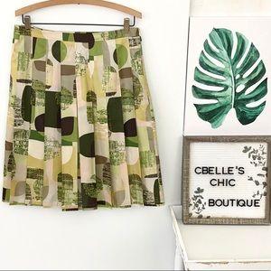 Banana Republic Silk Geometric Pleated Skirt Sz 6